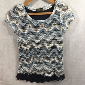 Absolutely Famous - crochet, lined top. Size SM